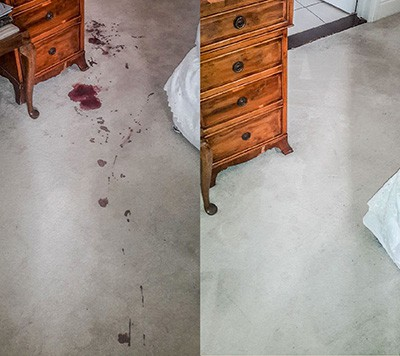 Severe stains removed by professional carpet cleaning service - before and after