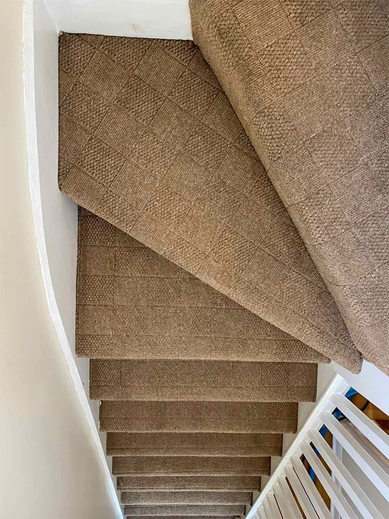 Carpet cleaning of stairs in a house in London