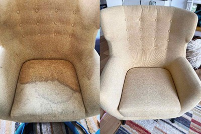 armchair cleaning - before and after the upholstery cleaning service